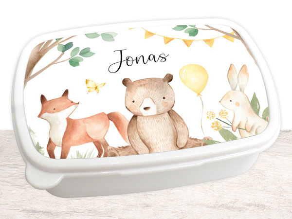Brotdose Brotbox Lunchbox personalisiert, Aquarell Waldtiere