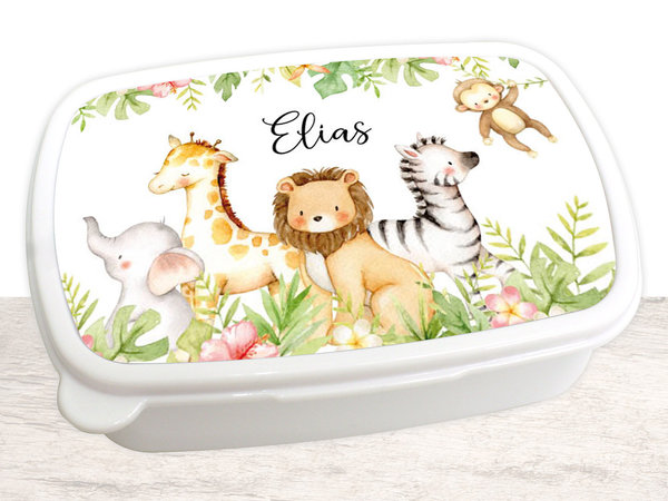 Brotdose Brotbox Lunchbox personalisiert, Aquarell Dschungeltiere